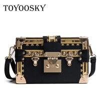 TOYOOSKY Vintage Handbags Clutch Retro Women Messenger Bags Panelled Box Bag Rivet Crossbody Shoulder Bags Small