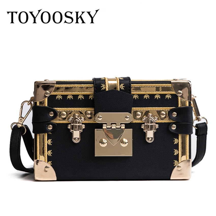 TOYOOSKY Vintage Handbags Clutch Retro Women Messenger Bags Panelled Box Bag Rivet Crossbody Shoulder Bags Small Handbag Purse
