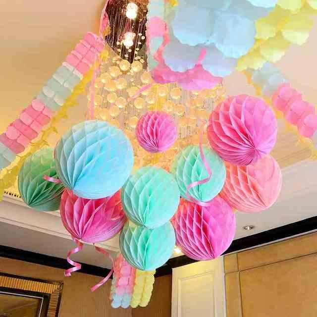 10 Inch 25cm White Tiffany Blue Tissue Paper Honeycomb Balls Birthday Baby Shower Wedding Holiday Party Decorations