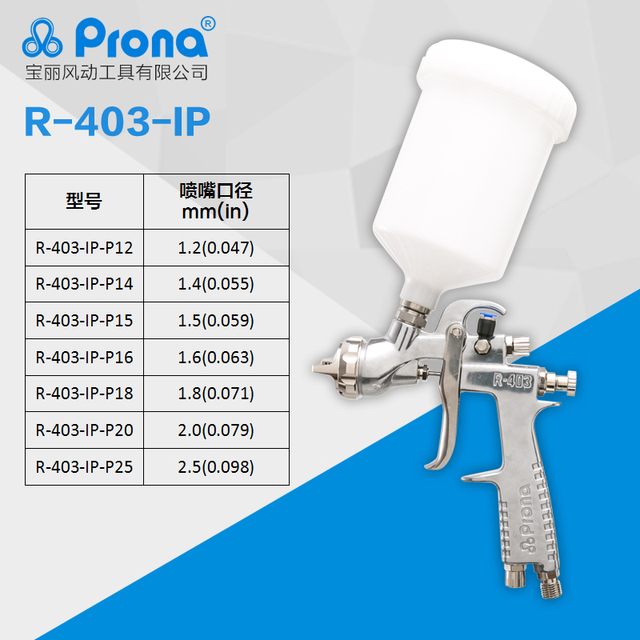 Prona R 403 IP air spray gun,gravity feed with plastic cup, air pressure to cup for high vicosity painting materialm, R403 IP