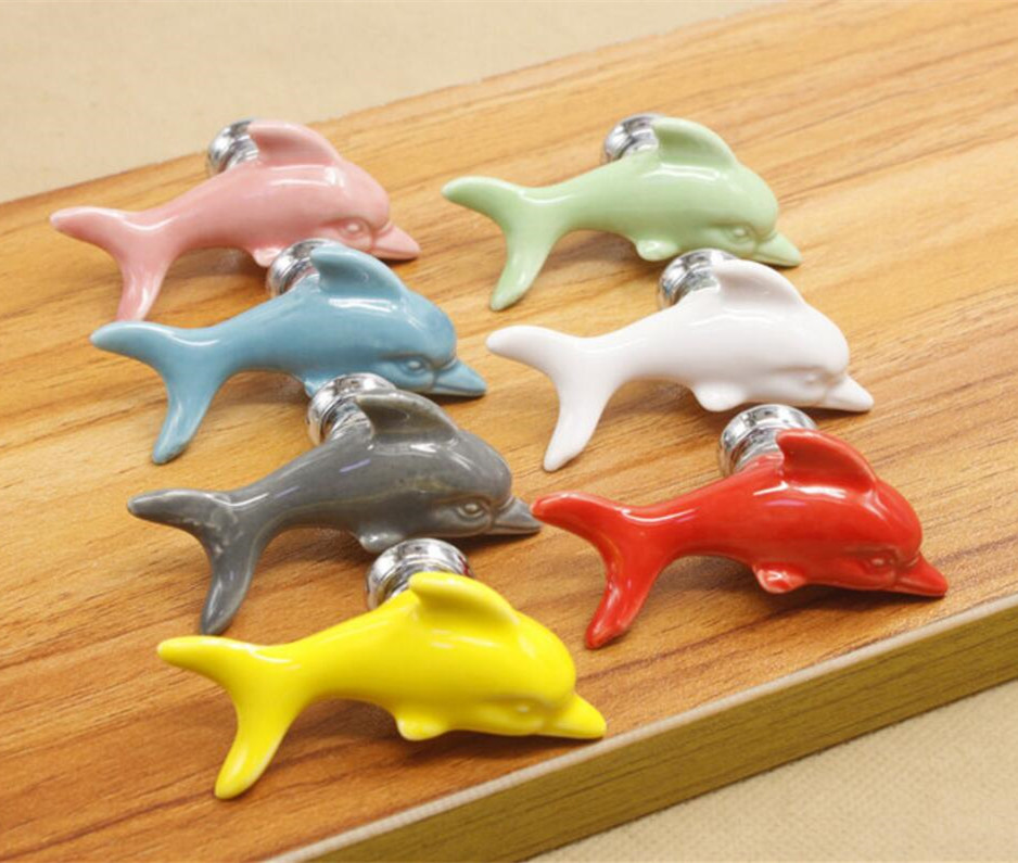 Ceramic knobs Dolphin Colorful Dresser Knobs / Drawer Cabinet Handles Children Cupboard Knobs Decorative Handle Red Pink Yellow candy color bear ceramic drawer handle for children lovely furniture fittings