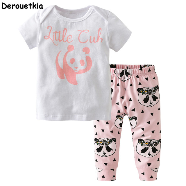 ae8a3297351 Summer Newborn Baby Girl Clothes Little Cub Panda T-shirts + Pants Toddler Outfits  Cute Baby Girls Clothing Sets Infant 2Pcs Set