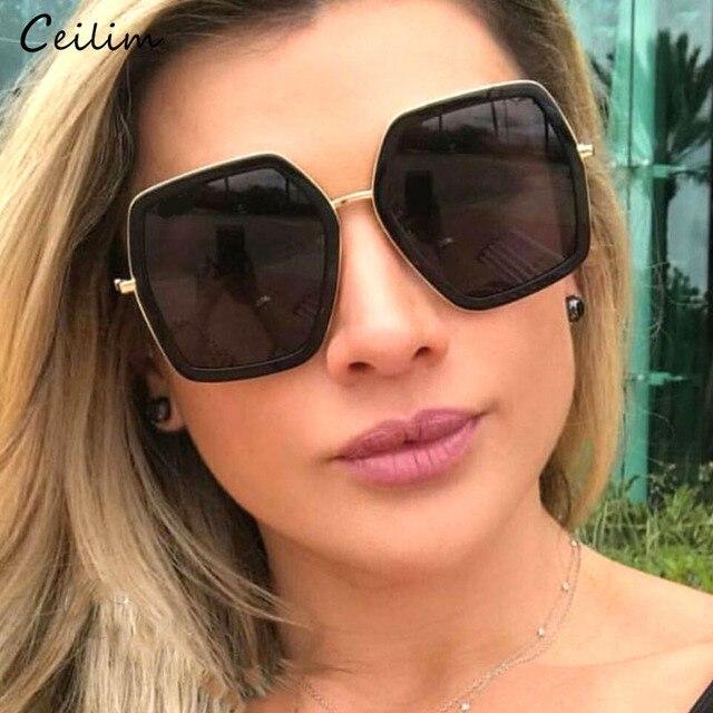 d1713954e Big Mirror Sunglasses for Women 2019 New Oversized Square Brand Sun Glasses  Designer Fashion Female Black