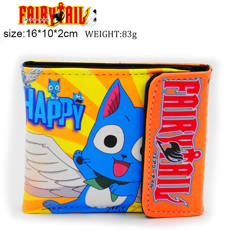 Japanese Anime Fairy Tail Happy Xia Lulu Panther Lily PU Short Purse Wallet Colorful Printing