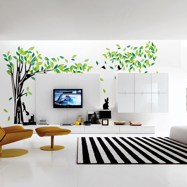 Large green tree wall stickers vinyl living room mural art for Zoom room design