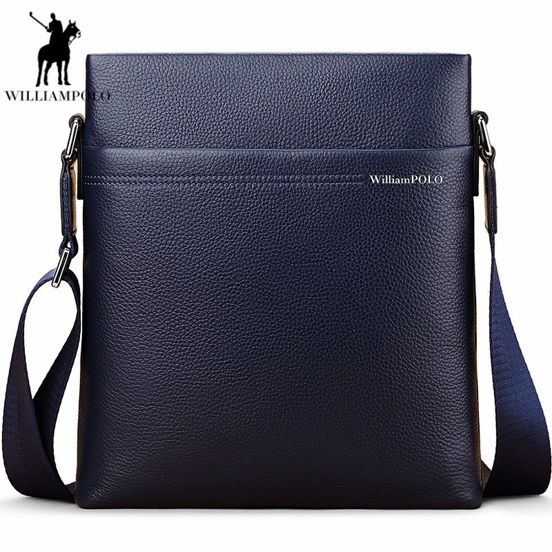 Williampolo Men Solid Zipper Genuine Leather Bussiness Shoulder Crossbody Bag Cow Leather Single Straps Messenger Bag PL001D