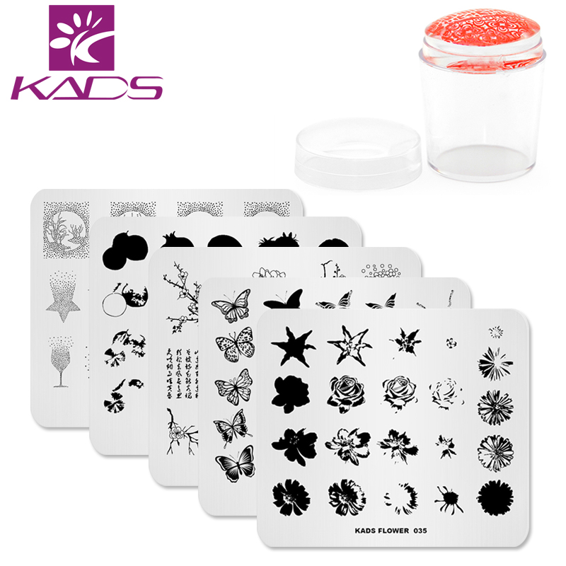 KADS New Arrival 6pcs/set Nail Stamping Plates Template Flower Christmas Design Manicure Nail Art Stamp Image Plate Set fashion cartoon designs nail stamping plates nail art image stamp plates manicure set template nail tool lc 18