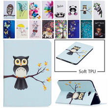 "Tablet Case For Samsung Galaxy Tab A A6 10.1"" 2016 SM-T580 T585 T580 T585N Smart Cover Funda Cartoon Owl PU Leather Skin"