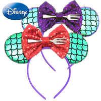 Little Mermaid Girls Headband Minnie Mouse Disney Princess Ears Hair Accessories Birthday Party Cosplay Costume Headwear Women