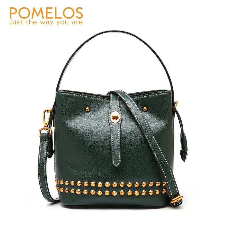 POMELOS Fashion Genuine Leather Women Bucket Bag Handbag Ladies Rivet Shoulder Bag Purse Female Luxury Messenger Crossbody Bags 2017 funny personality women pu leather chain ladies shoulder bag handbag female crossbody mini messenger bag purse bucket bag