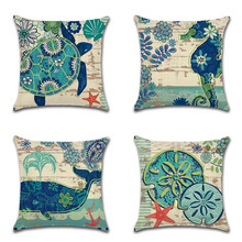Marine Ocean Animals Pattern Cushion Cover Sea Horse Turtle Jellyfish Printing Linen Throw Pillow Case Whale Decor Pillowcase