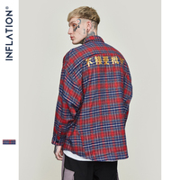 INFLATION Chinese Print Check Shirts Streetwear Long Sleeve Casual shirt Vintage Loose Hip Hop Checked Mens Red Shirt 8707W