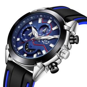 Image 5 - LIGE Herren Uhren Silikon Strap Top Marke Luxus Wasserdichte Sport Chronograph Quarz Business Armbanduhr Uhr Männer reloj hombre
