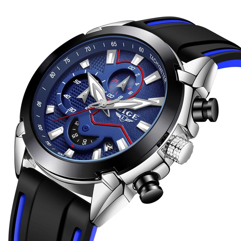 LIGE Mens Watches Silicone Strap Top Brand Luxury Waterproof Sport Chronograph Quartz Business Wristwatch Watch Men reloj hombre