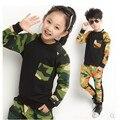 Новый 2016 Осень Детская Одежда Набор Мальчиков И Девочек Камуфляж с длинным рукавом Набор Twinset Камуфляж Хлопок девушки одежда наборы