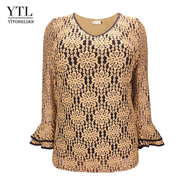 42a7d5bfea1 YTL Plus Size Womens Tops and Blouse Vintage Elegant Floral Lace Top Flare Long  Sleeve V Neck Casual Office Shirt M-8XL H142