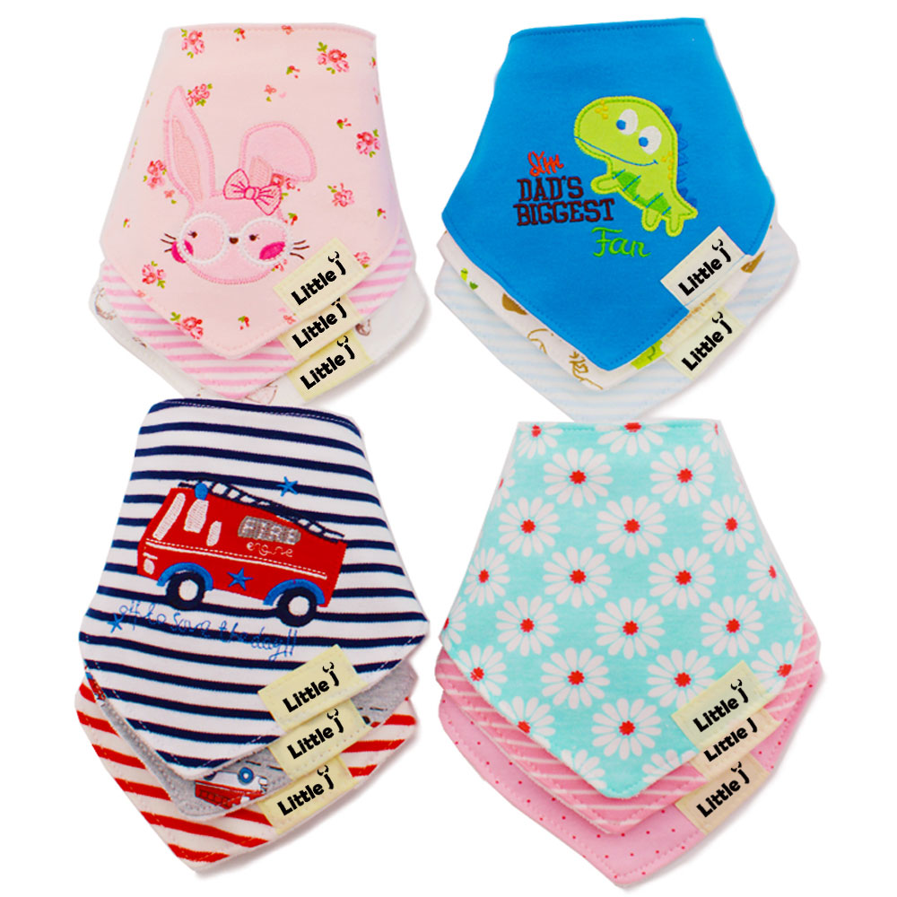 3Pcs/lot Cotton Baby Bibs Boys Girls Towel Cartoon Baby Bandana Bibs Newborn Baby Bib Infant Saliva Towel Toddler Clothing 2 layers newborn cartoon colorful baby boy girl bibs infant soft cotton toddler animal burp cloth waterproof saliva scarf towel