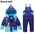 Мальчик девочка зимняя одежда набор подходит 10-24 месяц утка вниз снег одежда детский зимний комбинезон для младенцев вниз и парки