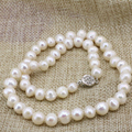 Charms chain necklace women mother gifts white natural 8-9mm freshwater cultured pearl beads choker collar jewelry 18inch B3235
