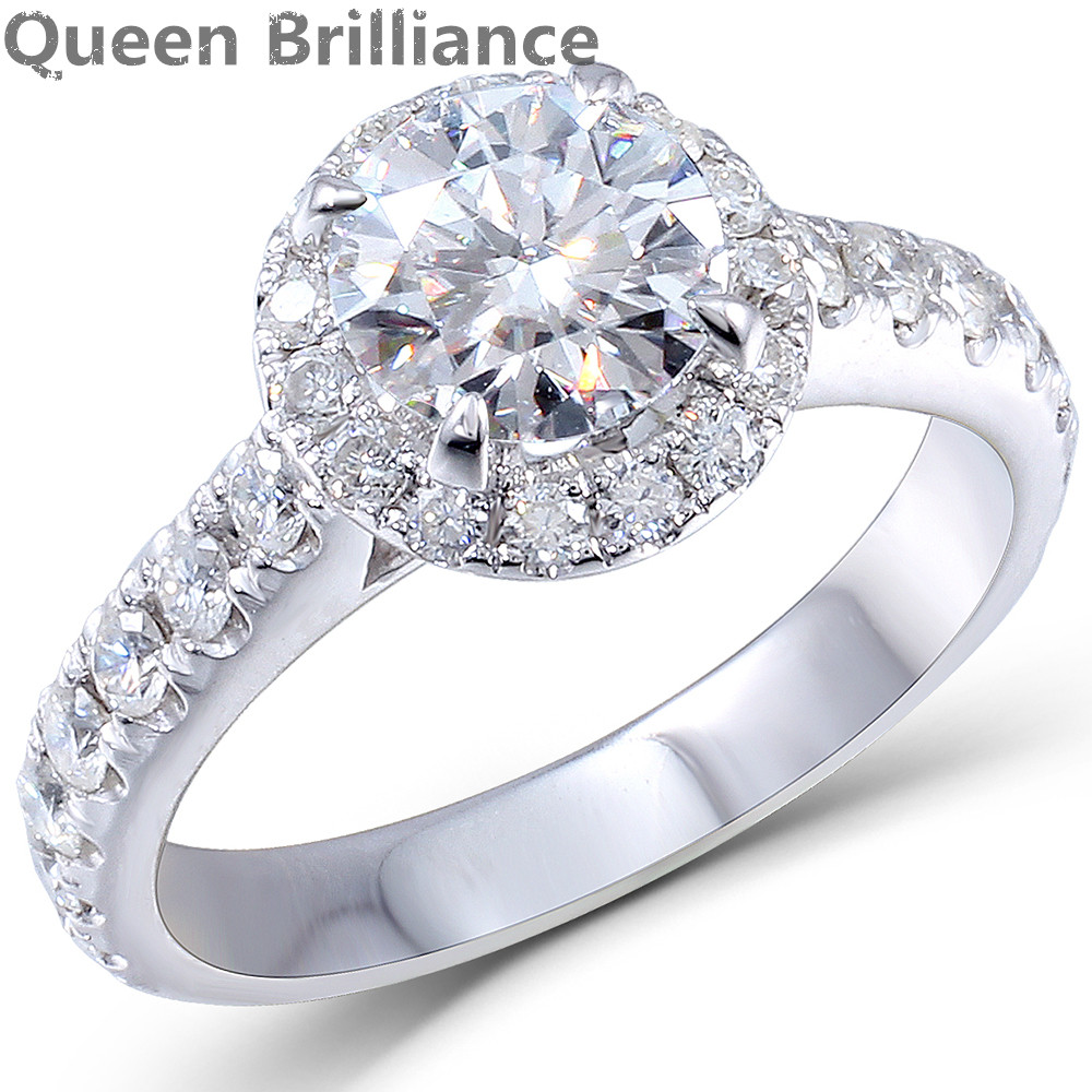 Solid 14K 585 White Gold 1ct Center 6.5mm F color Round Brilliant Lab Grown Moissanite Diamond Engagement Ring for Women