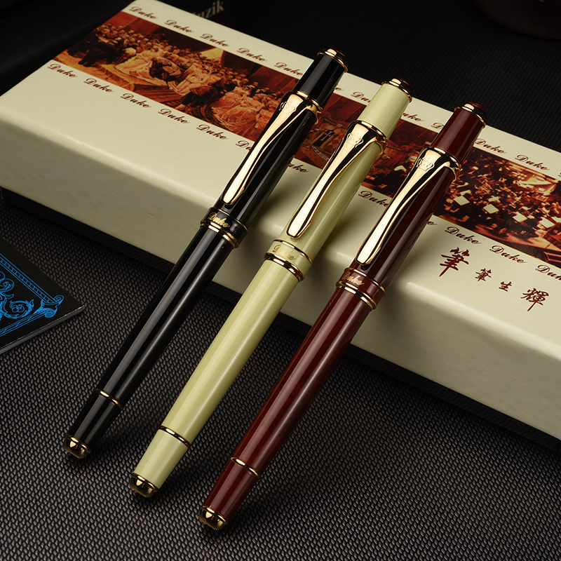 Duke Extreme Series Luxury Smooth Black and Gold Clip Fountain Pen with 0.5mm Nib High Quality Metal Ink Gift Pen Free Shipping hero 310b metal fountain pen