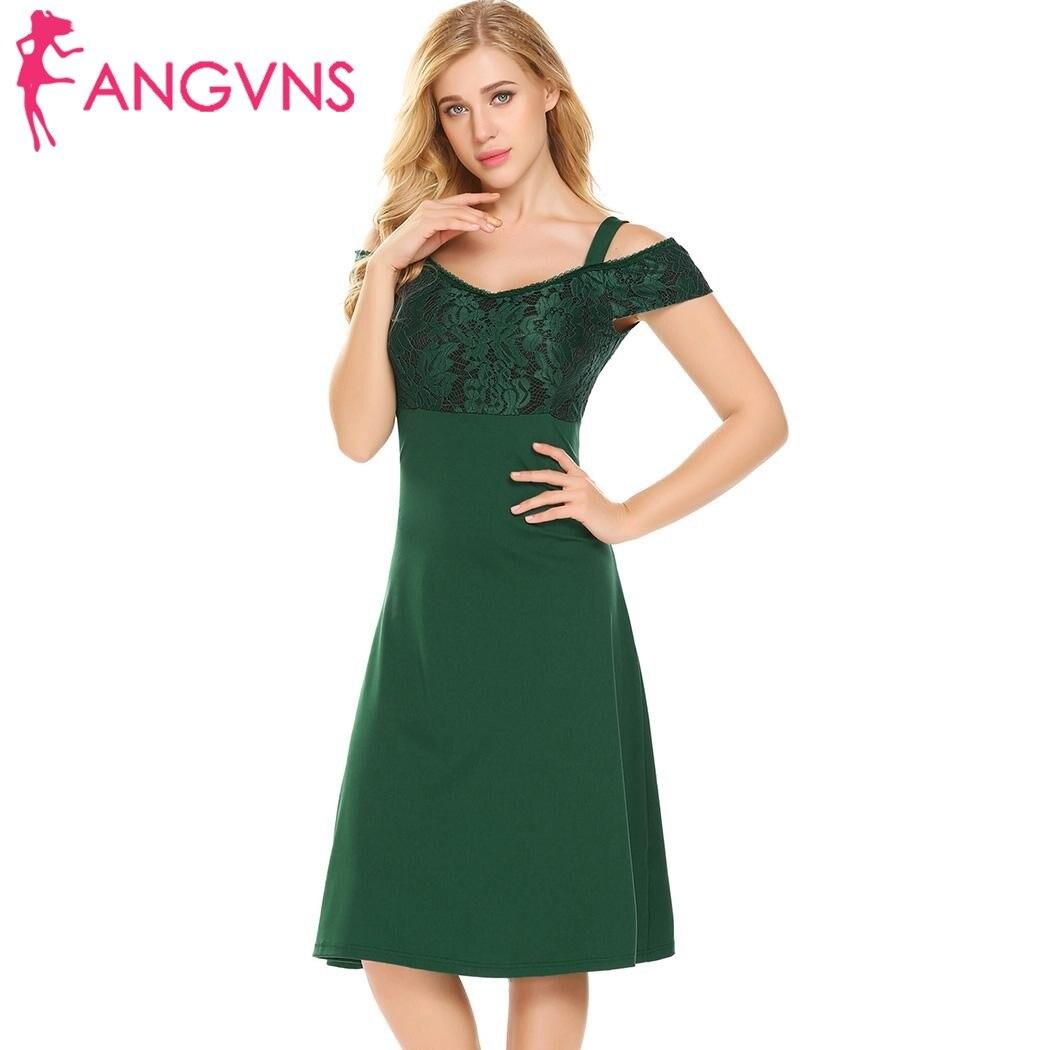 ANGVNS Femmes Cold Shoulder Partie A-ligne Robe 2018 Nouveau Élégant Sexy V-cou Dentelle Patchwork Mince Swing Robes Feminino Robes
