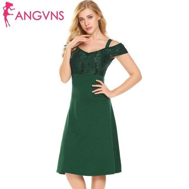 86f602adfe61 ANGVNS Women Cold Shoulder Party A-Line Dress 2018 New Elegant Sexy V-Neck  Lace Patchwork Slim Swing Dresses Feminino Vestidos
