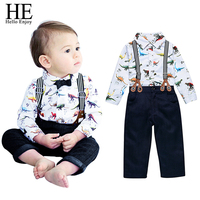 Baby Boy Clothes Infant Clothing Set Long Sleeve Cartoon Animal Print Shirt Belt Pants Toddler Boy