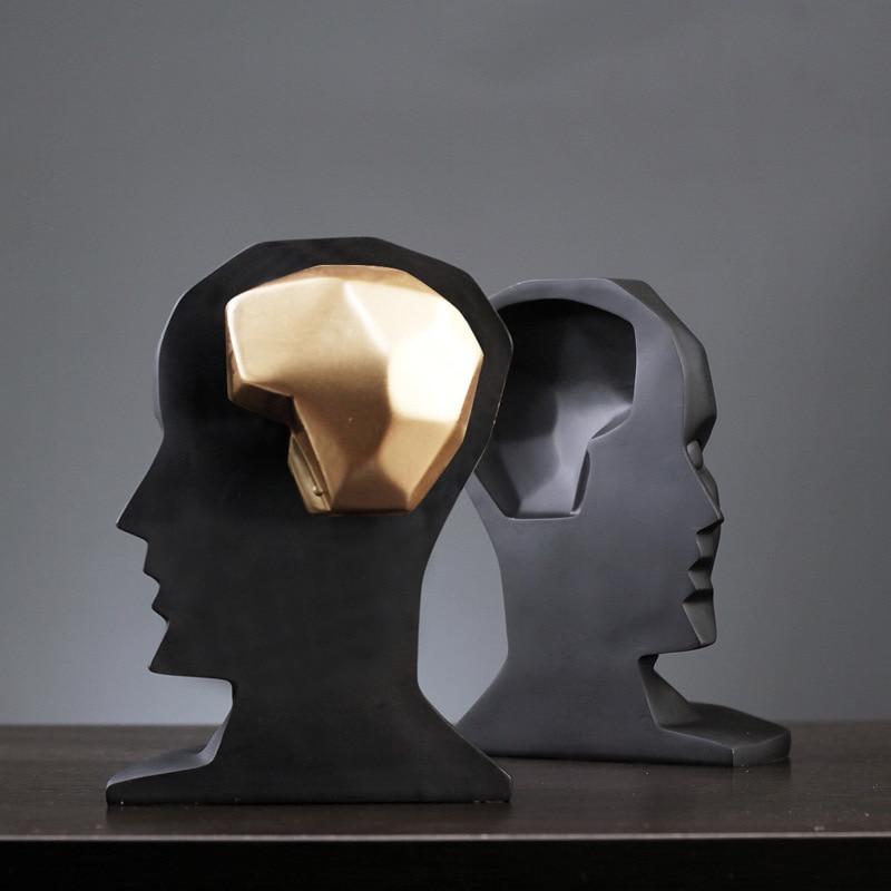 Semplice e moderno creativo cervello del foro di grandi dimensioni aperto mestieri della resina set casa porta creativo pattern room set regali di decorazione della casa - 3