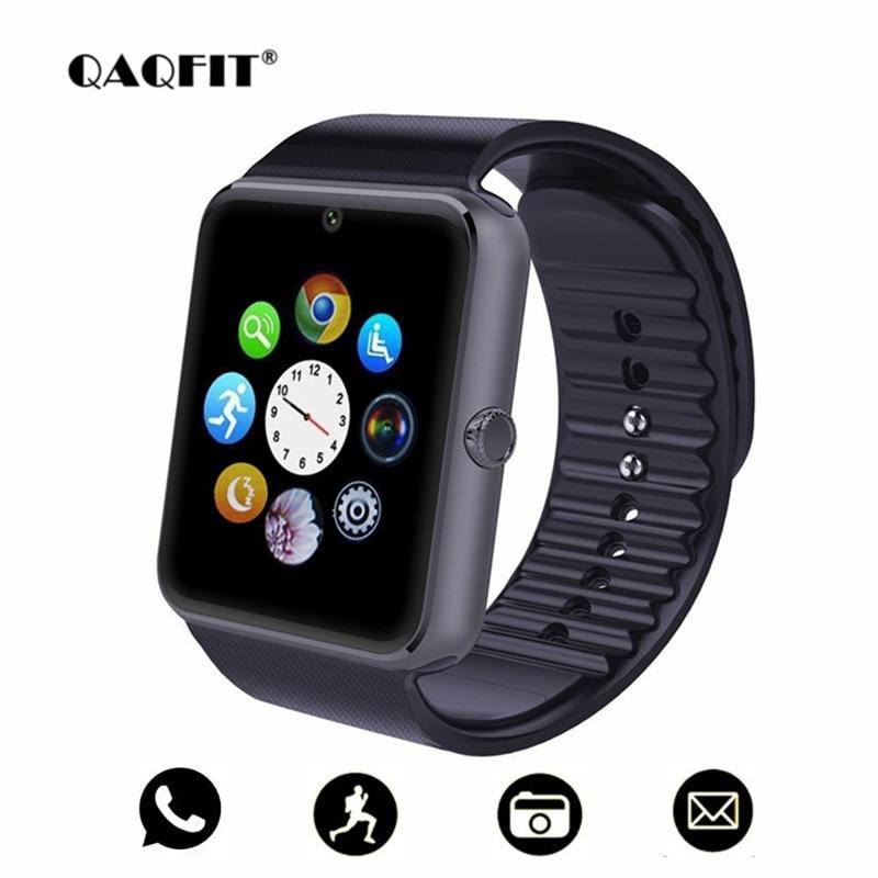 QAQFIT Bluetooth inteligente reloj hombres GT08 con pantalla táctil Batería grande apoyo TF tarjeta Sim cámara para IOS iPhone teléfono Android