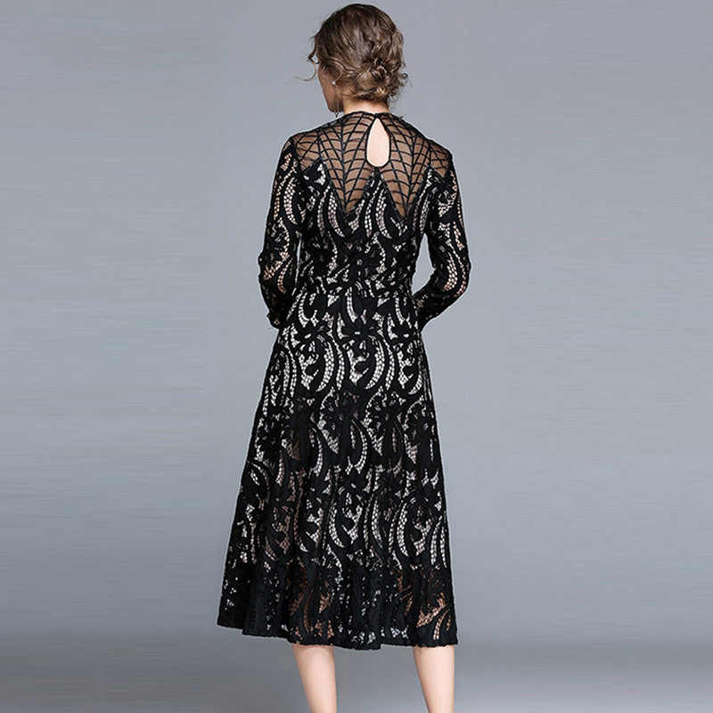 ... Willstage Black Long Lace Dress Women Mesh Jacquard Floral Embroidery Hollow  out Party Dresses 2018 Spring ... e6cc204b9d72