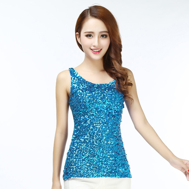 12d91e9d9ca976 Women s 1920s Style Shimmer Glitter Sequin Embellished Tank Top Sparkle  Round Neck Sleeveless Vest Tops Party Club Costumes