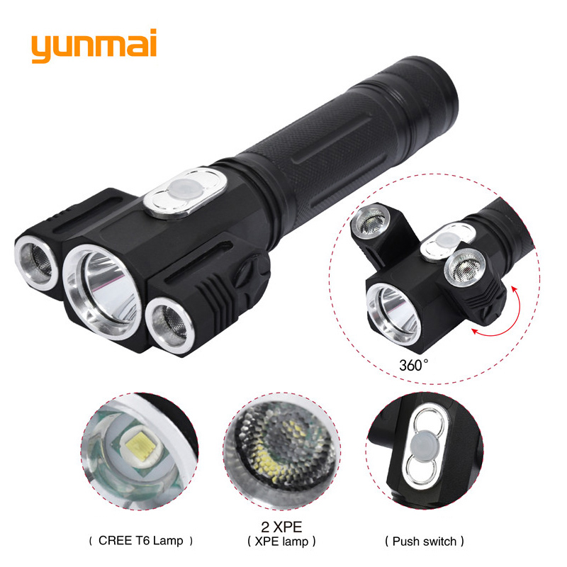 3800LM Cree xml t6+2Q5 Flashlight Powerful Led Torch Rechargeable Lanterna Flash Light use 18650 Battery for camping hiking high lumen led flashlight 4 2v cree xml t6 2 18650 battery 5 modes focalize flash lamp 2 18650 batteries battery charger