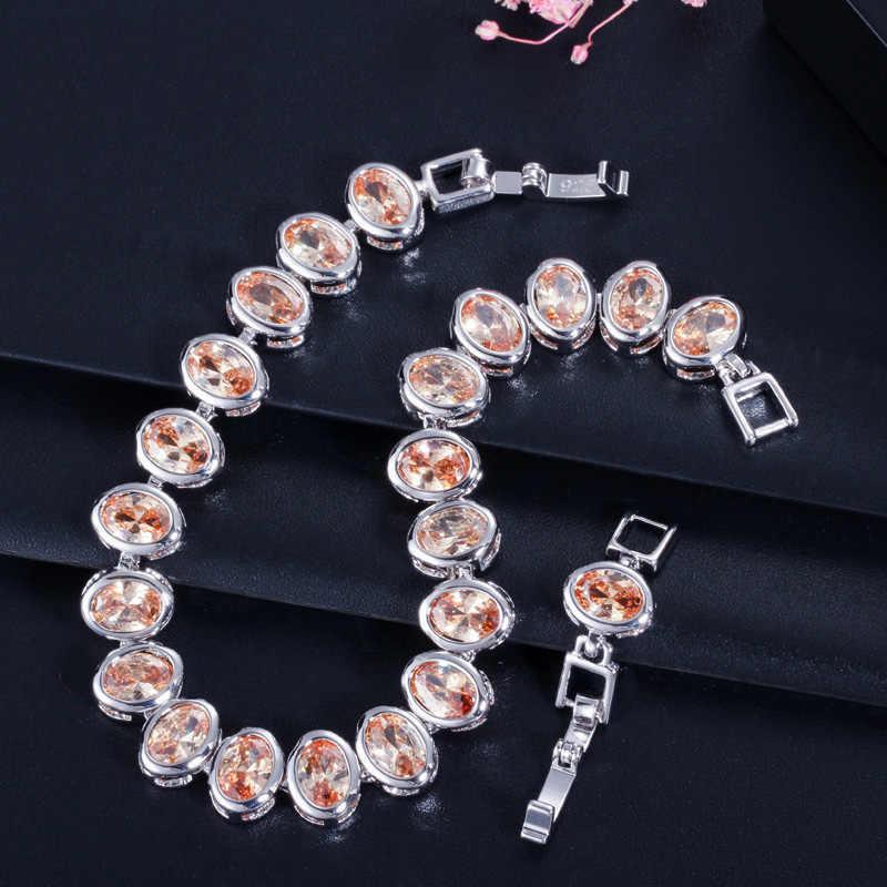 Pera clásico austriaco redondo rosa púrpura champán cristal africano moda mujer tenis pulsera joyería para regalo de Navidad B085
