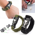 Hot Survival Paracord Bracelet   Scraper Whistle Flint Fire Starter Gear Kits A7ZF