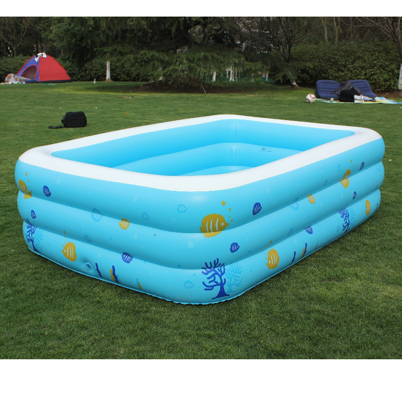 ФОТО 2016 Children's Large Inflatable Family Heightening Thickened Swimming Pool Babys Printed Kids Paddling Pool Size 196*143*60cm