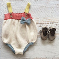 2017 Spring & summer Girl Ovrealls Infantil Criança Romper Malha Doce Arco Bonito Roupas