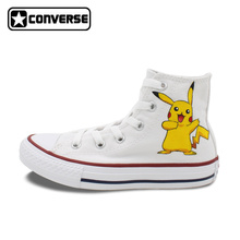 Pikachu Converse All Star Boys Girls Shoes Pokemon Go Design Hand Painted High Top Canvas Sneakers Man Woman Birthday Gifts