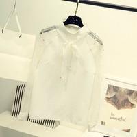 Elegant Organza Bow Pearl White Blouse Spring Autumn Casual Fashion Chiffon Shirt Women Tops Blusas Femininas T5N215
