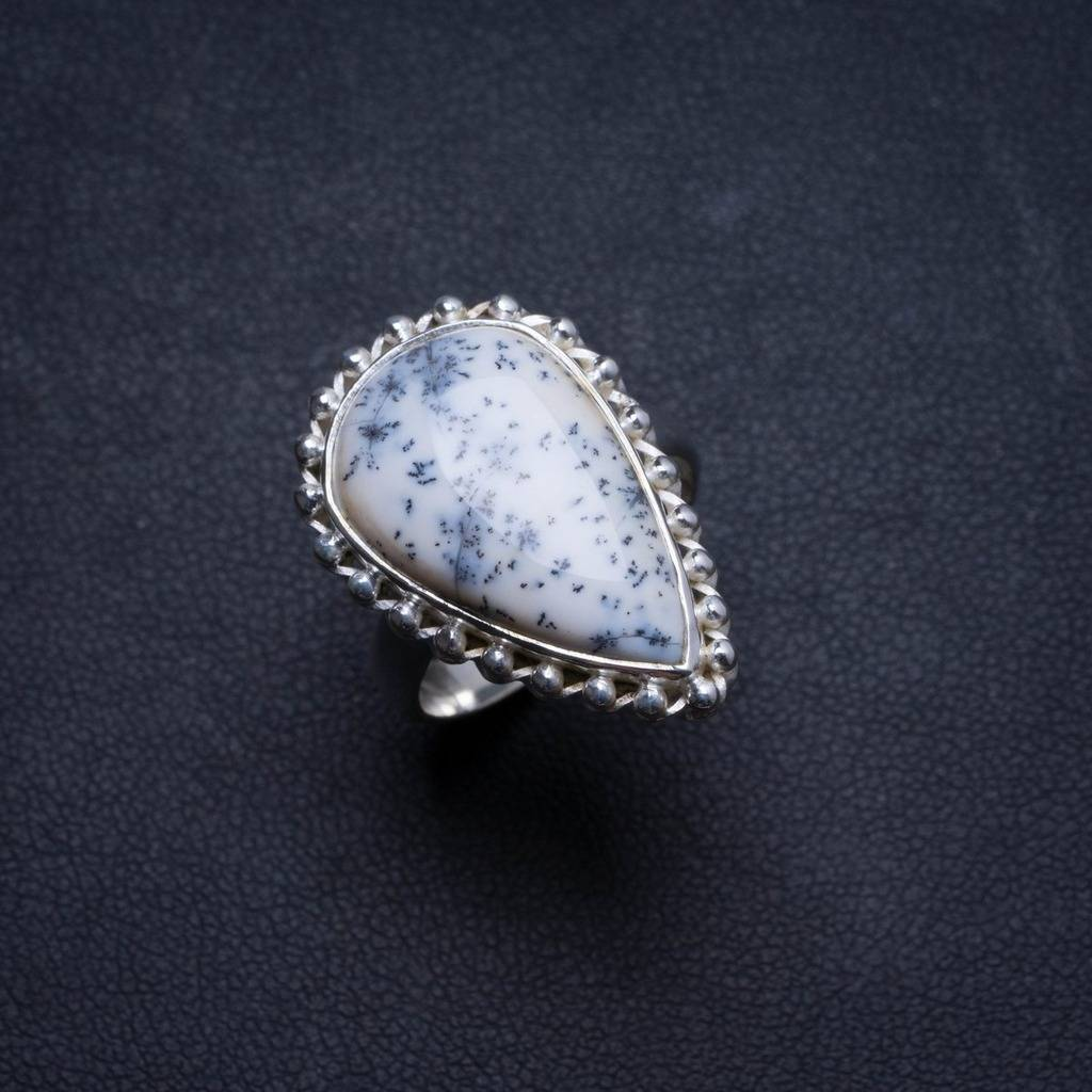 Natural Dendritic Opal Handmade Unique 925 Sterling Silver Ring, US size 7.75 X1648 natural dendritic opal handmade unique 925 sterling silver ring us size 7 75 x1648