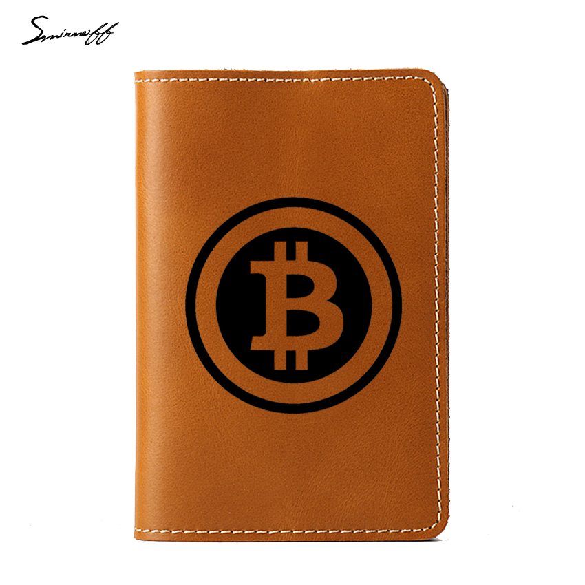 Travel Accessories Cover Digital currency Bitcoin Logo Passport Organizer Genuine Leather passport Holder for Women and Men