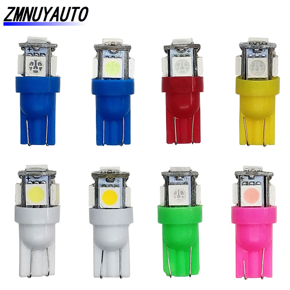 10 PCS <font><b>T10</b></font> <font><b>LED</b></font> W5W 5050 5SMD <font><b>Led</b></font> Car Interior Light License Plate Bulb Turn Lamps 5w5 <font><b>t10</b></font> White Red Yellow Green Pink <font><b>Blue</b></font> 12V image