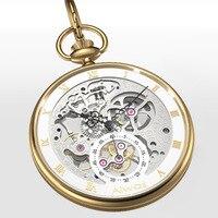 Skeleton Hollow Men's Pocket Watch Original Seagull Movement Clock Roman Scale Dial Men Mechanical Pocket Watches Retro