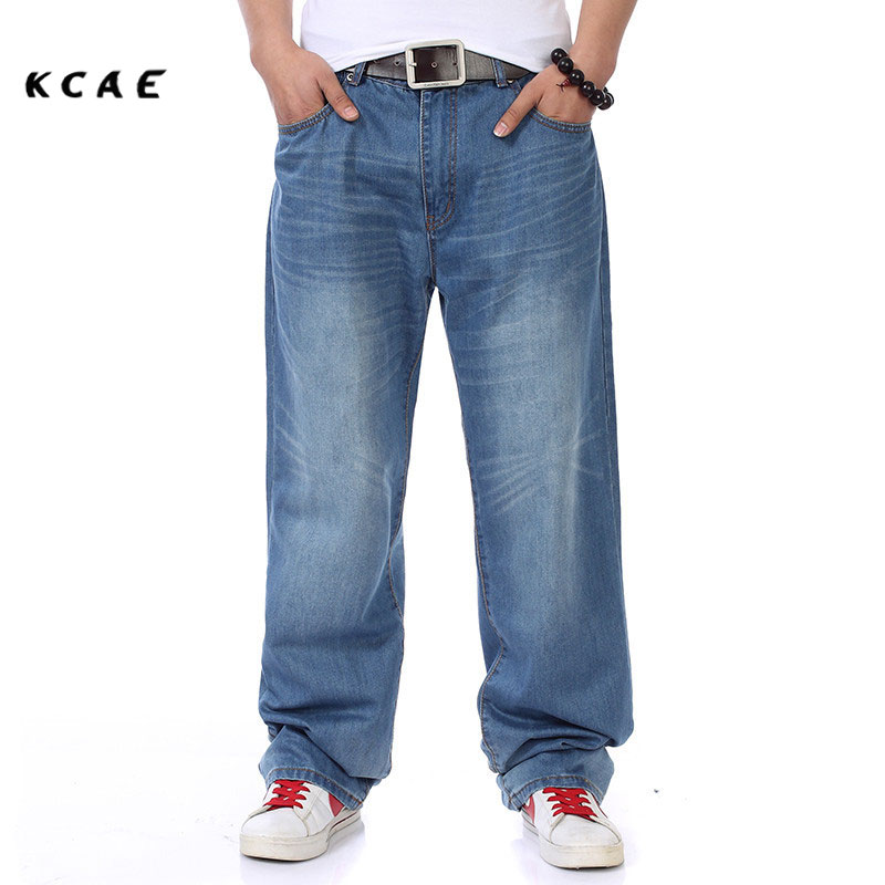New Style Brand Mens Straight Denim Cargo Pants Biker Jeans Men Baggy Loose Blue Jeans  Pockets Plus Size 40 42 44 46  mens casual blue jeans denim multi pocket loose outdoor straight legs cargo pants