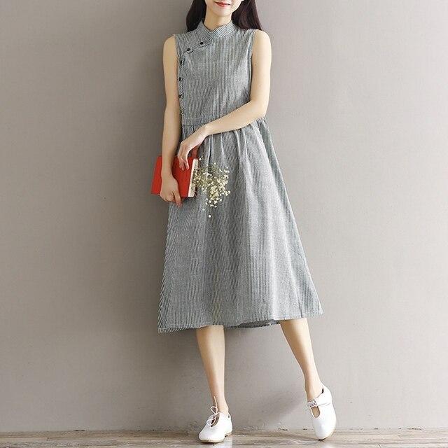 e607a4f4c5 Women Summer Dress Strip Sleeveless A-line Dress Streetwear Casual Dresses  for Women Linen Cotton Dress Size S-XL