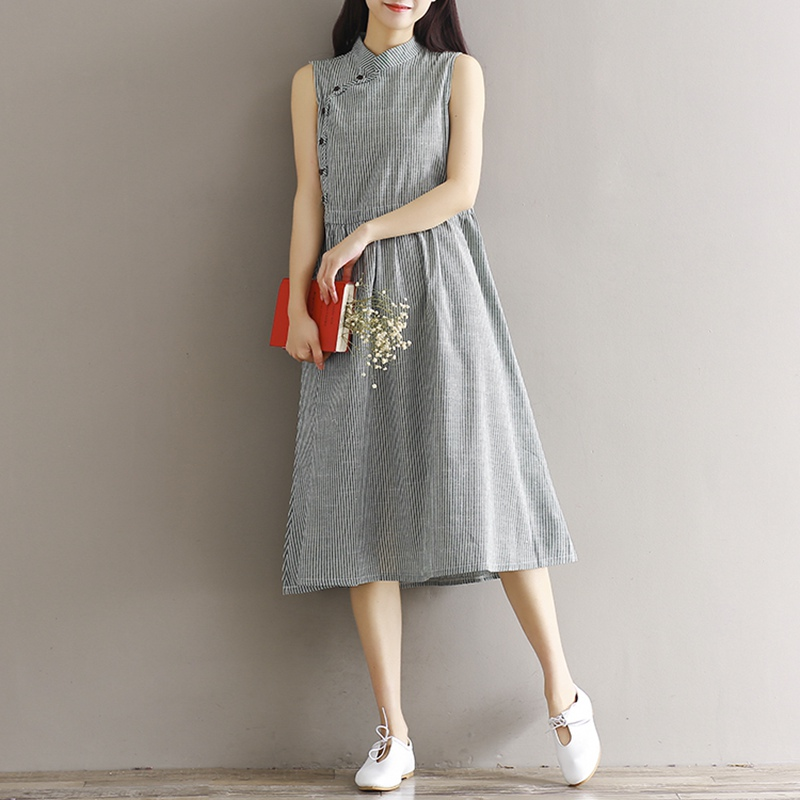 Women Summer Dress Strip Sleeveless A-line Dress Streetwear Casual Dresses for Women Linen Cotton Dress Size S-XL
