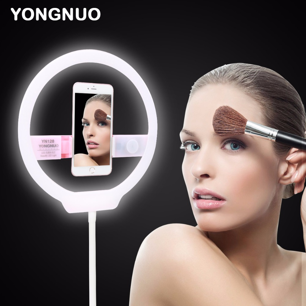 YONGNUO YN128 Camera Photo Studio 128 LED Ring Light Photography Dimmable Video Lamp for iPhone X Canon Nikon Youtube Vlogging yongnuo yn128 camera photo studio phone video 128 led ring light 3200k 5500k photography dimmable ring lamp for iphone 7 7 plus