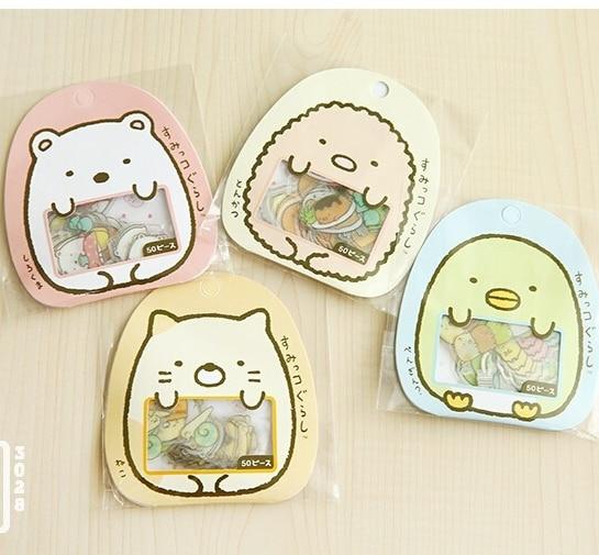 TIAMECH 50Pcs/Pack New Cute Sumikko Gurashi Diary Label Stickers Pack Decorative Mobile Stickers Scrapbooking DIY Stickers H0781