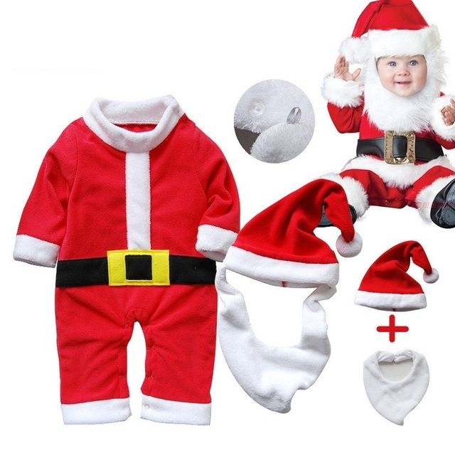 Baby Girl Christmas Clothes Newborn Baby Boys Dress Up Santa Claus Jumpsuit  Infant Bebe Romper+ - Baby Girl Christmas Clothes Newborn Baby Boys Dress Up Santa Claus