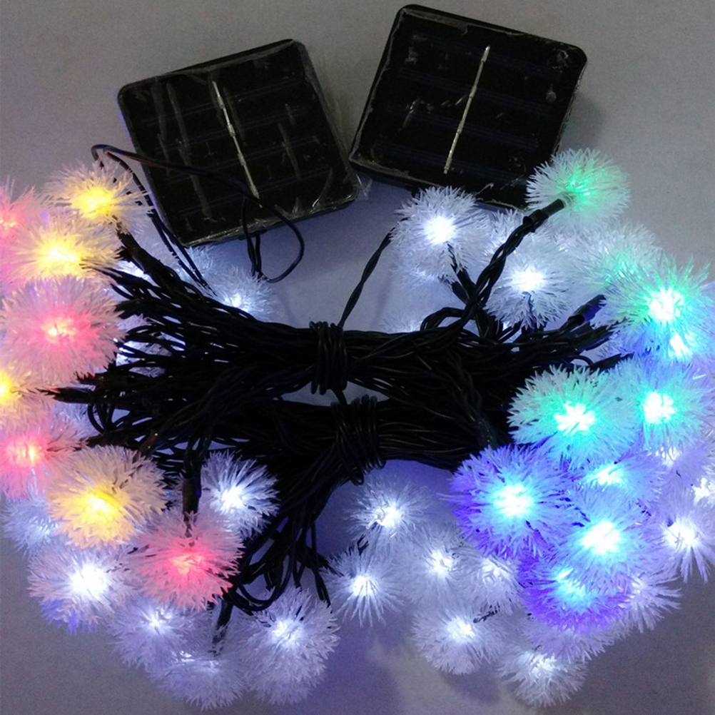 Camping christmas tree ornaments - Solar Powered Waterproof Chuzzle Snowball Led String Lights Christmas Party Fairy Colorful 20 Led Lamp Decor